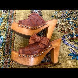 Miu Miu platform sandals brown leather